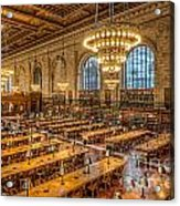 New York Public Library Main Reading Room Ix Acrylic Print by Clarence Holmes