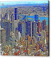 New York Skyline 20130430v3 Acrylic Print by Wingsdomain Art and Photography