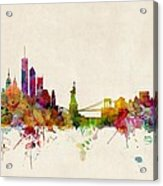 New York Skyline Acrylic Print by Michael Tompsett
