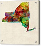 New York Watercolor Map Acrylic Print by Michael Tompsett