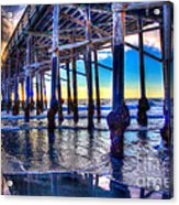 Newport Beach Pier - Low Tide Acrylic Print by Jim Carrell