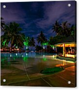 Night At Tropical Resort 1 Acrylic Print by Jenny Rainbow