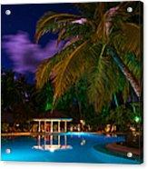 Night At Tropical Resort Acrylic Print by Jenny Rainbow