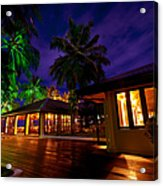 Night Lights At The Resort Acrylic Print by Jenny Rainbow