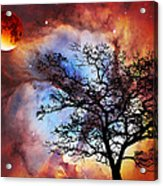 Night Sky Landscape Art By Sharon Cummings Acrylic Print by Sharon Cummings