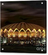 night WVU basketball Coliseum arena in Acrylic Print by Dan Friend