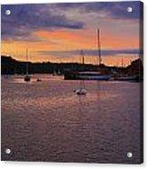 Nightfall On Mystic River 1 Acrylic Print by John Hoey