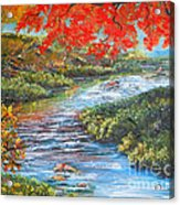 Nixon's Brilliant View Of Fall Alongside The Rapidan River Acrylic Print by Lee Nixon