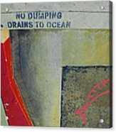 No Dumping - Drains To Ocean No 2 Acrylic Print by Ben and Raisa Gertsberg