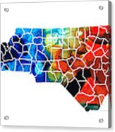 North Carolina - Colorful Wall Map By Sharon Cummings Acrylic Print by Sharon Cummings