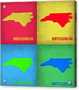 North Carolina Pop Art Map 1 Acrylic Print by Naxart Studio