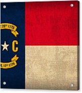 North Carolina State Flag Art On Worn Canvas Acrylic Print by Design Turnpike