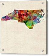 North Carolina Watercolor Map Acrylic Print by Michael Tompsett