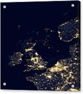 North Sea At Night, Satellite Image Acrylic Print by Science Photo Library