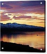 Norwegian Fjordland Sunset Acrylic Print by David Broome