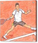 Novak Djokovic Sliding On Clay Acrylic Print by Steven White