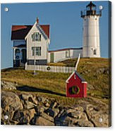 Nubble Light At Christmas Acrylic Print by Pat Lucas