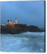 Nubble Lighthouse High Surf And Holiday Lights Acrylic Print by John Burk