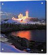 Nubble Lighthouse Holiday Lights And Winter Moon Acrylic Print by John Burk