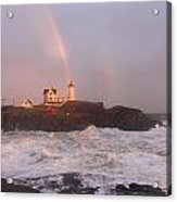 Nubble Lighthouse Rainbow And Surf At Sunset Acrylic Print by John Burk