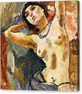 Nude Brunette With Blue Necklace Nu La Brune Au Collier Bleu Acrylic Print by Jules Pascin