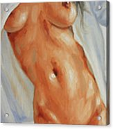 Nude In Shirt II Acrylic Print by John Silver