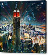 Nyc In Fourth Of July Independence Day Acrylic Print by Ylli Haruni