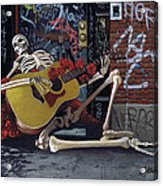 Nyc Skeleton Player Acrylic Print by Gary Kroman