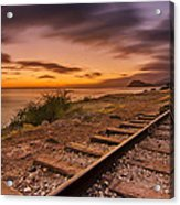 Oahu Rail Road Track Sunset Acrylic Print by Tin Lung Chao
