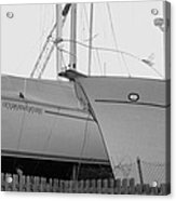 Ocean Adventure Until Then The Two Are In Dry Dock Monochrome  Acrylic Print by Rosemarie E Seppala