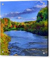 October On The Cuyahoga Acrylic Print by Dennis Lundell
