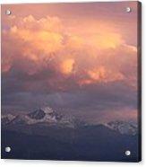 October Sunset Over Longs Peak Acrylic Print by Margaret Bobb