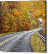 Oil Painted Country Road Acrylic Print by Brian Mollenkopf