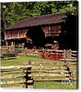 Old Appalachian Farm Cantilevered Barn Acrylic Print by Paul W Faust -  Impressions of Light