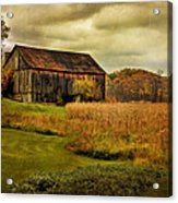 Old Barn In October Acrylic Print by Lois Bryan