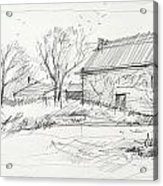 Old Barn Sketch Acrylic Print by Peut Etre