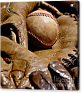 Old Baseball Ball And Gloves Acrylic Print by Art Block Collections