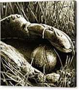 Old Baseball Glove With Ball In The Grass Acrylic Print by Sandra Cunningham