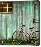 Old Bicycle Leaning Against Grungy Barn Acrylic Print by Sandra Cunningham