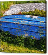 Old Blue Boat Acrylic Print by Garry Gay