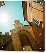 Old Clock On The Tower And Sun Acrylic Print by Raimond Klavins