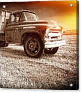 Old Farm Truck With Explosion At Night Acrylic Print by Edward Fielding