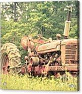 Old Farmall Tractor At Sunrise Acrylic Print by Edward Fielding