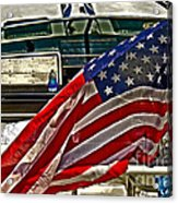 Old Glory And The Bay Acrylic Print by Tom Gari Gallery-Three-Photography