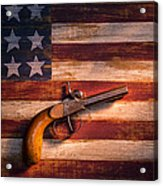 Old Gun On Folk Art Flag Acrylic Print by Garry Gay
