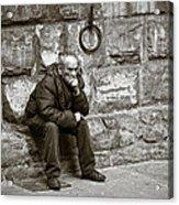 Old Man Pondering Acrylic Print by Susan Schmitz