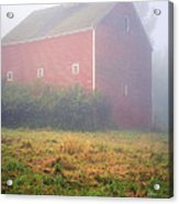 Old Red Barn In Fog Acrylic Print by Edward Fielding