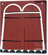 Old Red Kutztown Barn Doors Acrylic Print by Anna Lisa Yoder