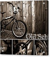 Old School Bmx - Pk Collage Bw Acrylic Print by Jamian Stayt