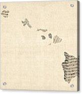 Old Sheet Music Map Of Hawaii Acrylic Print by Michael Tompsett